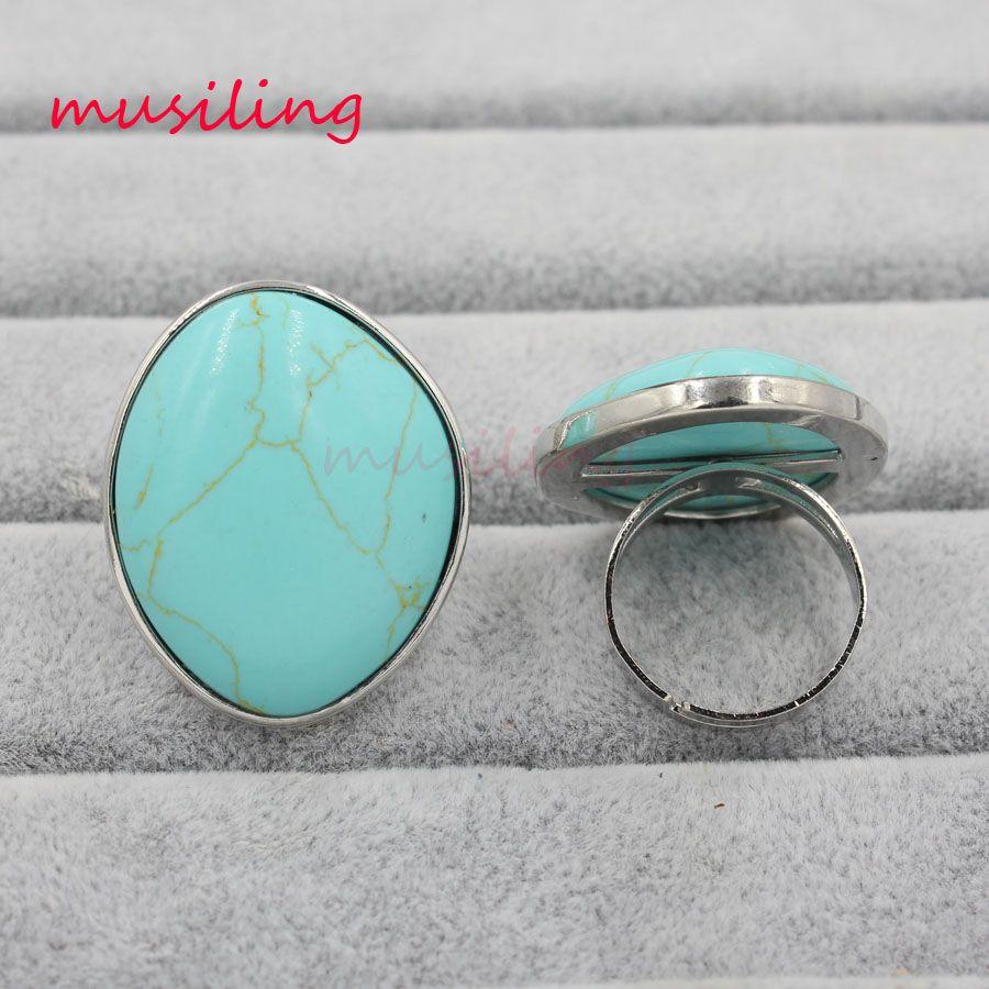 Anneaux de mariage Cristal Anneaux Charms de pierre naturelle Améthyste Quartz Rose etc Accessoires réglables Argent Plaqué Bijoux