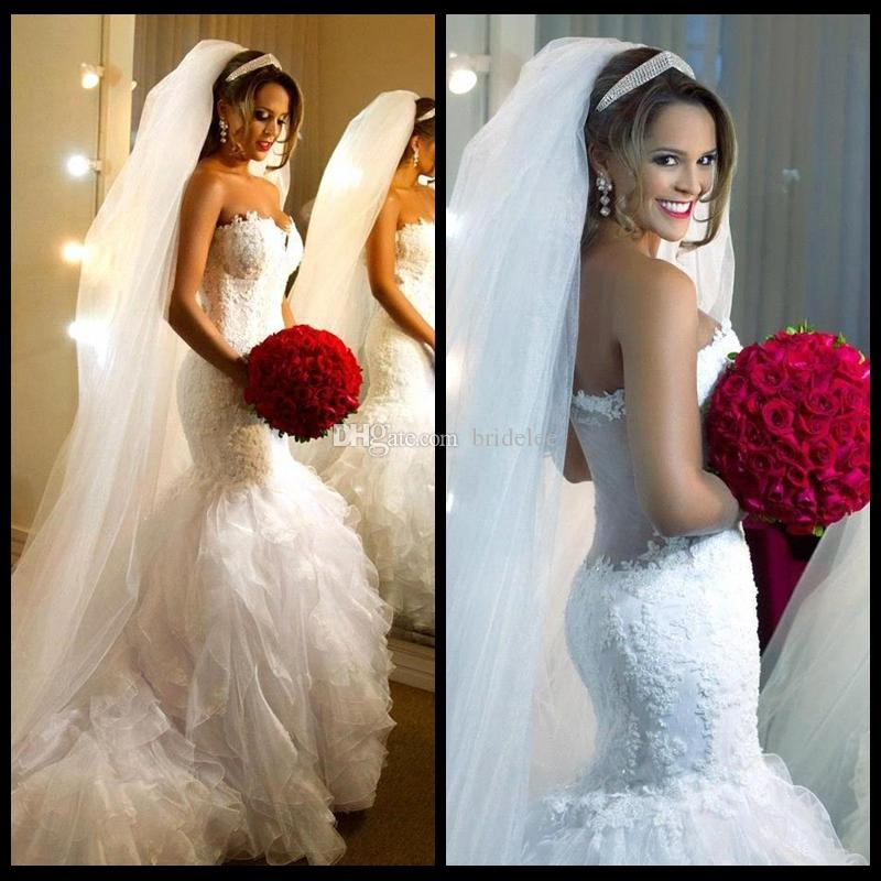 Vestido دي noiva رومانسية حورية البحر الرباط فساتين الزفاف 2020 الحبيب تكدرت مطوي الزفاف أثواب الزفاف مخصص