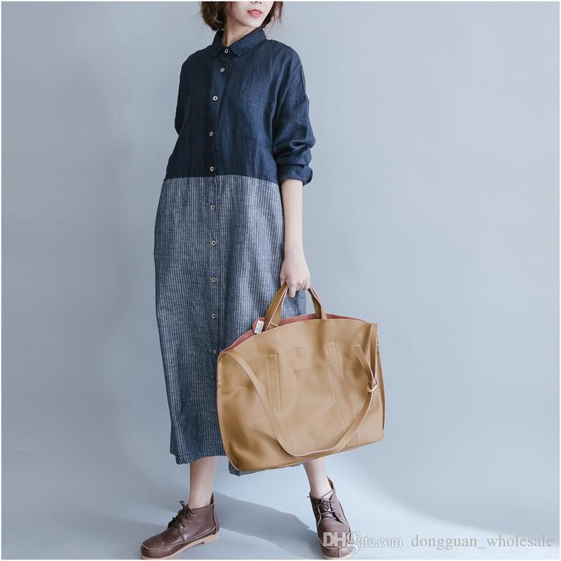 Yaz Casual Keten Elbiseler Bayan Slim Fit Elbise Uzun Kollu Artı Maix Boyutu Ince Gevşek çizgili Plaj Parti Moda Elbise Kadınlar