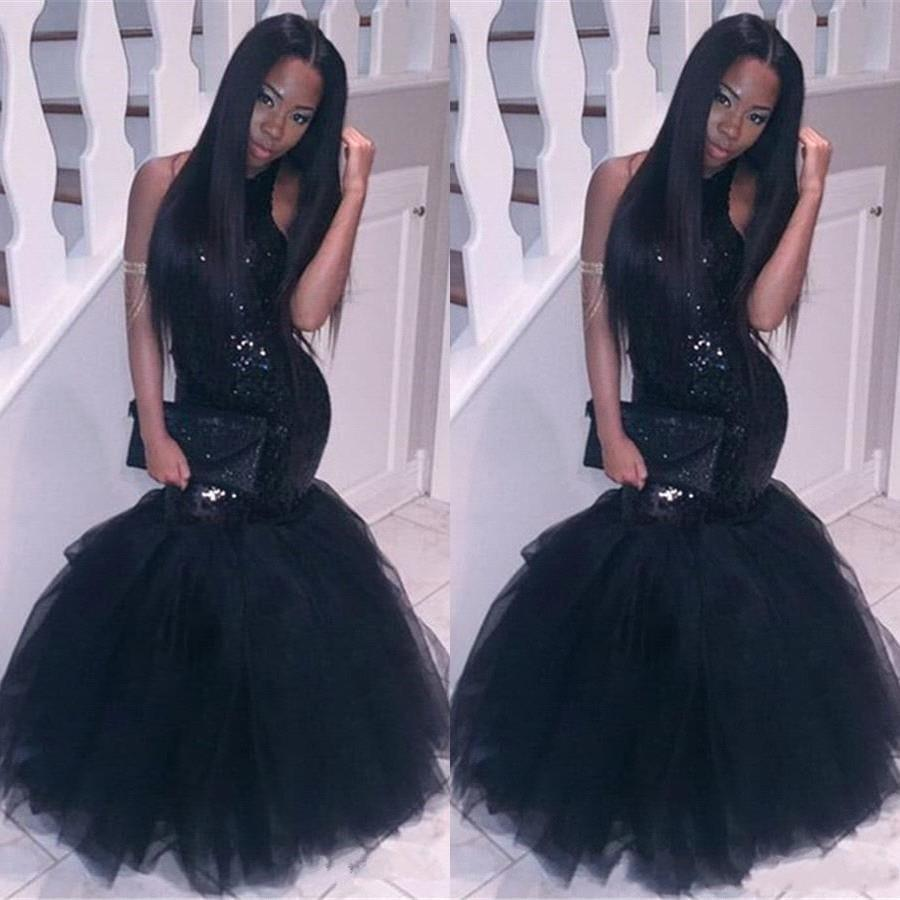 Sparkly Black Girls Mermaid African Prom Dresses 2019 Halter Neck Sequins Tulle Sexy Corset Formal Dress Cheap Party Pageant Gowns