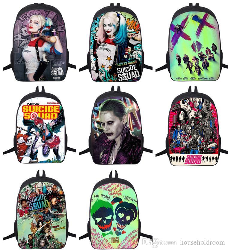 Esquadrão Suicida Harley Quinn Moda adolescentes Unissex Mochila Mochilas crianças Meninas Meninos Shoulder Bolsa Escola Schoolbag