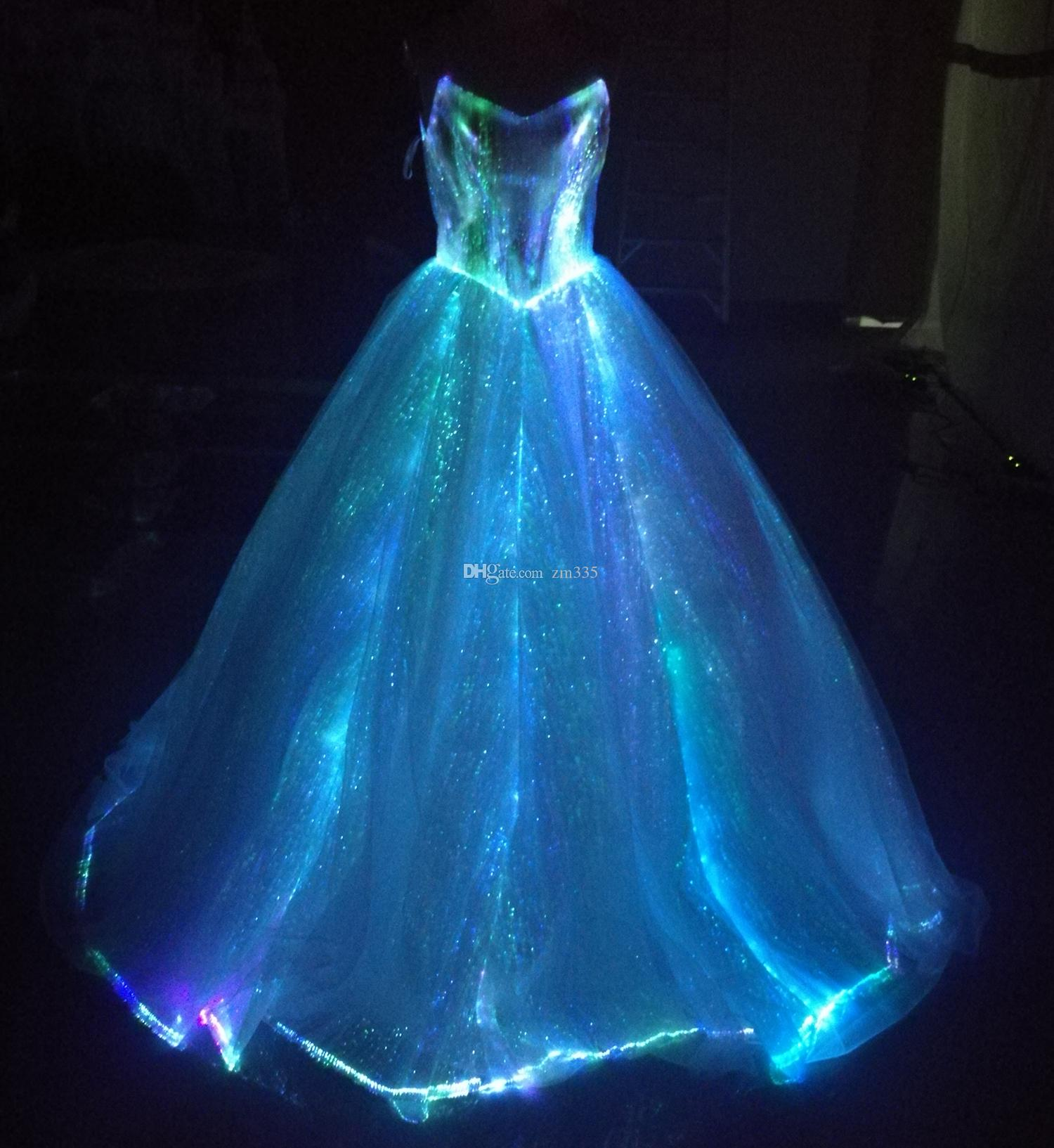 discount fiber optic light up a line spaghetti strap wedding dresses