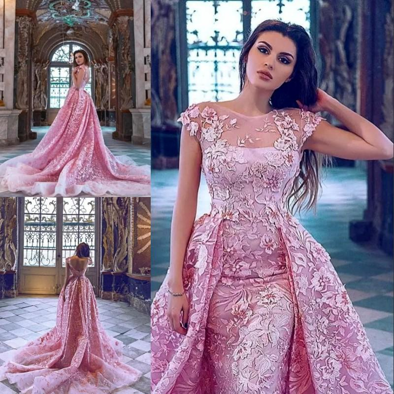 8e2269fc606 Luxury Pink Mermaid Evening Gown With Overskirts Train Lace Applique Short  Sleeves Red Carpet Dress Amazing Dresses Sexy Formal Evening Wear Winter  Evening ...