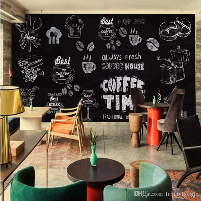 Hand painted coffee dessert home decoration restaurant for Cafe mural wallpaper