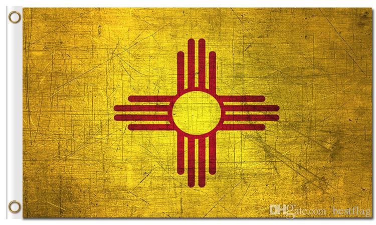 Grunge Style New Mexico State Retro Style Flags America State Nation