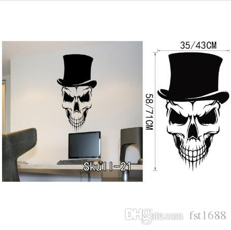 Halloween Skull Wall Stickers Vinyl Skull Wall Sticker Cartoon Waterproof Removable Decals Home Decor