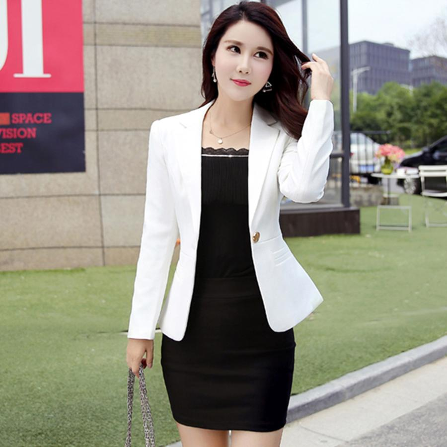 8d90378b420 2019 Plus Size Casual Women Blazer Suit Office Suit Female Business Blazer  Feminino Manga Longa Female Jackets Female Coats 60N0430 From Suntao520
