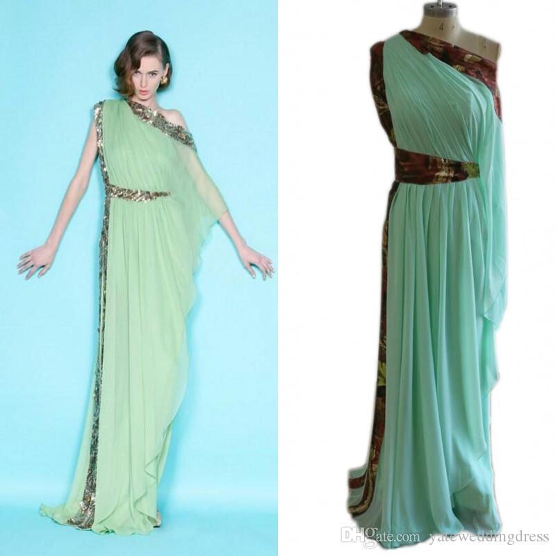 100% Real Image Unique Special Design Evening Dresses One Shoulder Mint Chiffon Tiered Ruffle Prom Dresses Sweep Train Custom Party Gowns