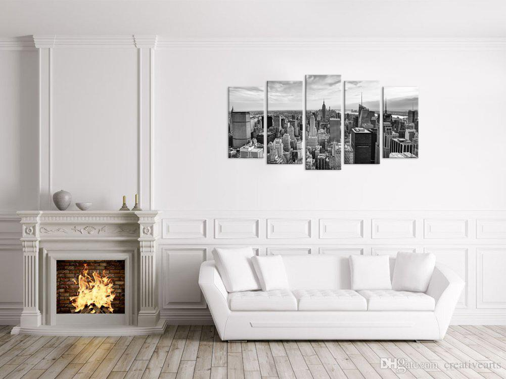 HD Printed City Canvas Art Printing Black and White Cityscape Wall Picture for Living Room No Frame/VA170814-5