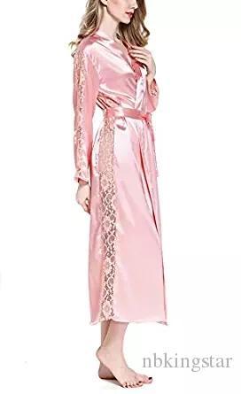 2d95355cfd 2019 2017 Sexy Lace Trim Satin Kimono Robes Bridesmaid Bathrobe Long  Nightgown Sleepwear Dressing Gown For Women Available From Nbkingstar