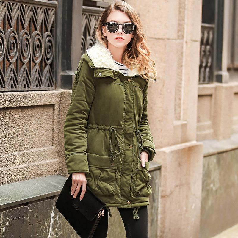 8b621c6b7 Women s Winter Army Green Down Jacket Large Size Slim Women Cotton Parka  Lambswool Warm Hooded Coat