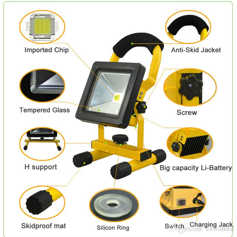 Portable led Rechargeable outdoor Flood Light 10w 20W 30w 50w 100-240V AC Input IP65 Led work Light indoor and outdoor