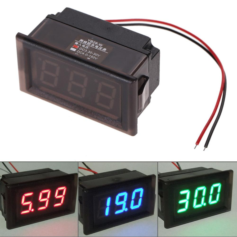 Venta al por mayor a prueba de agua DC 3.3-30V LED Voltímetro Panel Digital Volt Meter Gauge Display para Auto Car Motorcycle 3 opciones de color
