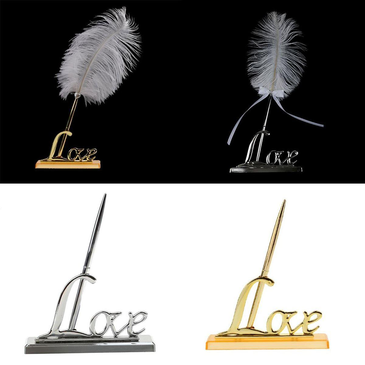 Wedding Signing Pen with Silver Plated Metal Love Holder Party Pen Set (Silver)