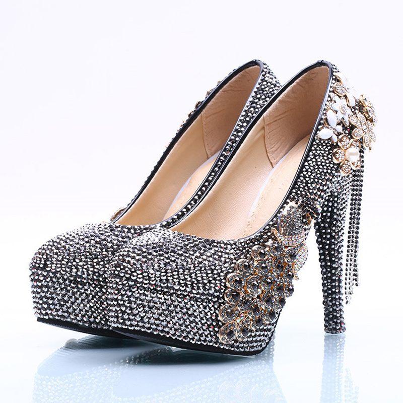 Mulheres Sapatos De Salto Alto Phoenix Preto AB Cristal Sapatos Prom Handmade Bombas de Festa de Casamento Da Dama De Honra Sapatos Mãe dos Sapatos de Noiva