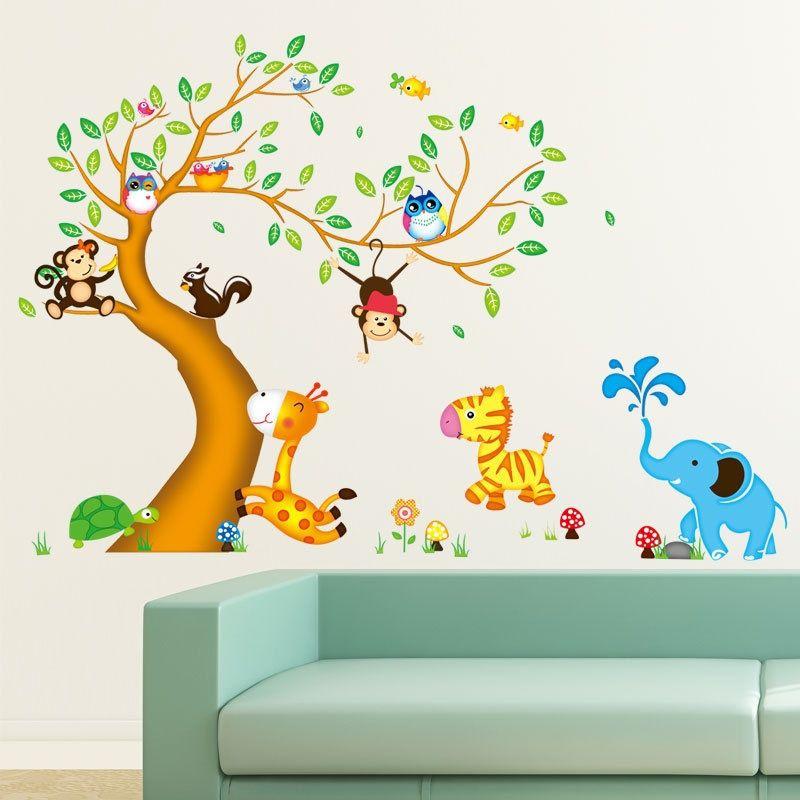 Cartoon Animal Tree Stickers Camera bambini asilo Camera da letto Lovely Sitting Room Ornamento essere in grado di rimuovere adesivi murali sfondo