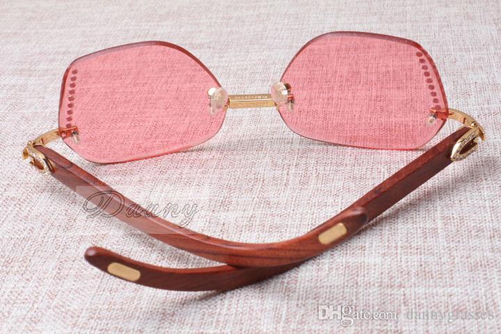 2017 Yeni Stil Yüksek Kalite Lüks Trendy Elmas Kırmızı Ahşap Güneş Gözlüğü 8100909 Erkek ve Kadın için Gümüş Kahverengi Lens, Boyutu: 60-18-135mm