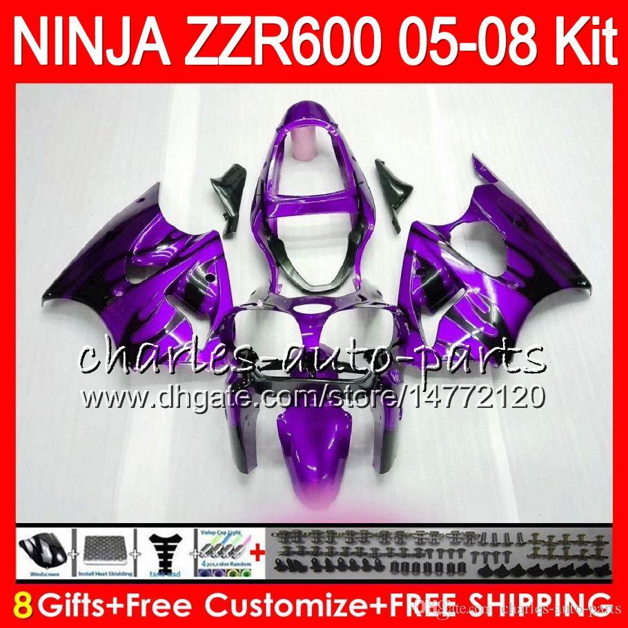 8Gifts Body KAWASAKI NINJA ZZR 600 05 06 07 08 32NO91 Viola blk 600CC ZX600 ZZR600 05 ZZR-600 2005 2006 2007 Kit carenatura 2008