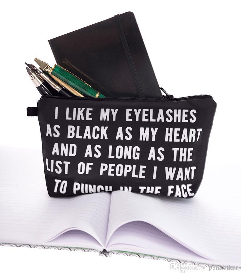 Großhandel Ich Mag Meine Wimpern 3D Print Frauen Make-Up Tasche Dame Mädchen trousse de toilette Veranstalter Maleta de Maquiagem eitelkeit Kosmetik Taschen