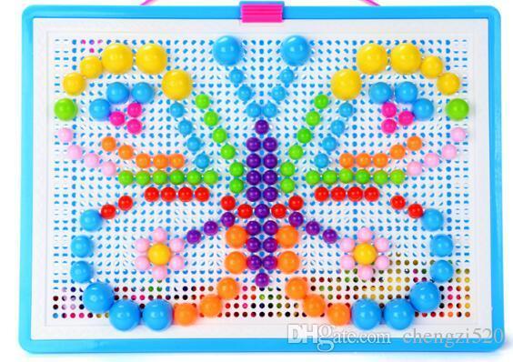 아기 장난감 크리 에이 티브 다채로운 모자이크 버섯 네일 땡 어린이 학습 장난감 삽입 비즈 퍼즐 교육 완구 어린이 YH703
