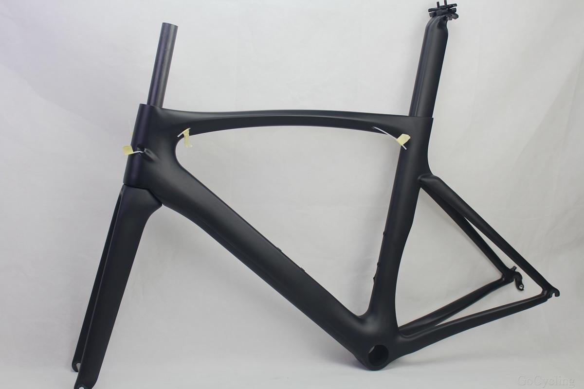 Carbono quadros de bicicletas de estrada preto mate correndo quadro da bicicleta ciclismo conjunto de quadros Sem decalques peças da bicicleta