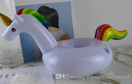 PVC Aufblasbare Getränk Tasse Halter Weiß Einhorn Getränke Inhaber Pegasus Floating Pool Strand Stand Spielzeug Für Party Drop Shipping