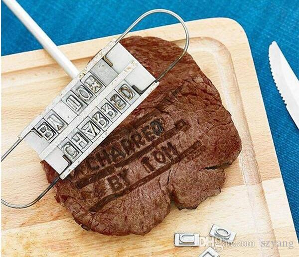 BBQ Meat Branding iron with changeable letters Personality Steak Meat Barbecue BBQ Tool Changeable 55 Letters