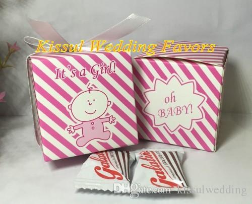 2016 Newest Amazing Baby shower favor box of Oh baby it's a girl Baby birthday Party Gift box and Baby candy box