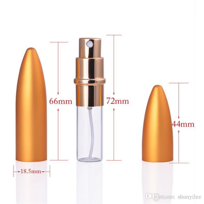 6 ml cam ve Metal Bullet parfüm şişesi küçük seyahat Empaty sprey yeniden doldurulabilir atomizer kozmetik şişe kapağı ile ücretsiz kargo J-09
