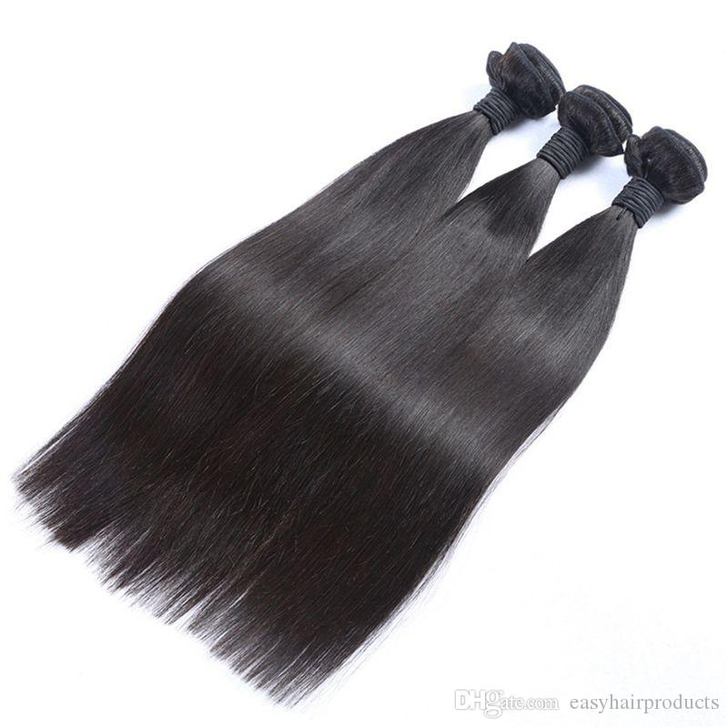 Brazilian Human Hair Weave Bundles Straight Virgin Hair 3 Bundles with Lace Frontal Closure 13X6 From Ear To Ear