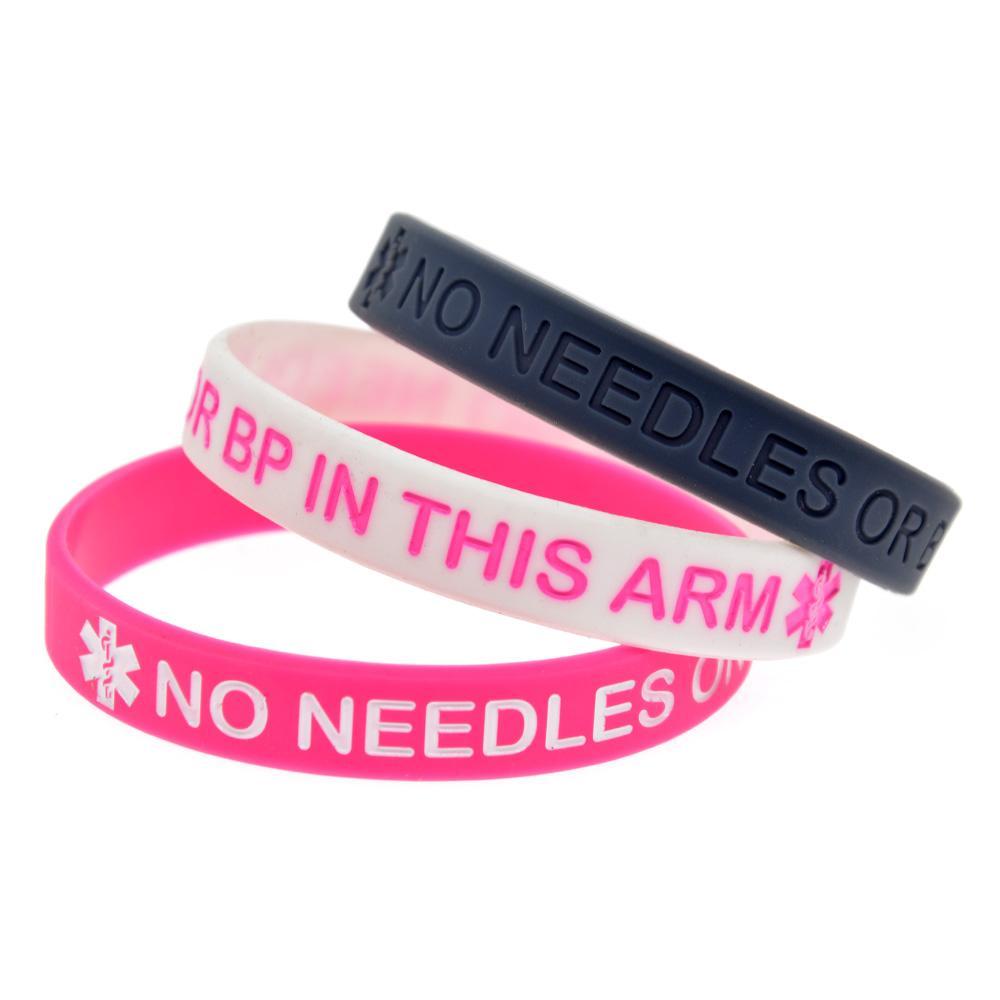 Venda quente sem agulhas ou BP neste braço de Silicone pulseira de tinta logotipo preenchido tamanho adulto pulseira
