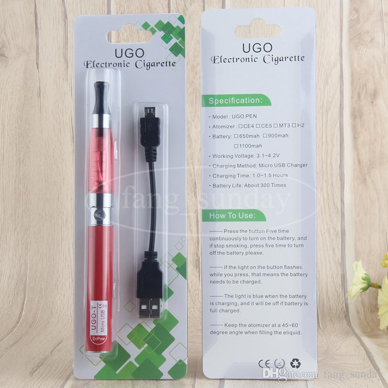 Kits vaper Ego T CE4 vaporizador cargador Ecigarette paquete de ampolla con 650 900 1100 mAh UGO Micro USB 510 Tema Vape batería