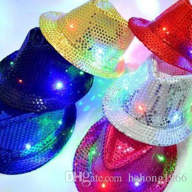 LED Jazz Hats Glow Fashion Colorful Flash Cap Male And Female Club Party Dance Hip Hop Christmas Gift 9 Zj R Personalized 1st Birthday
