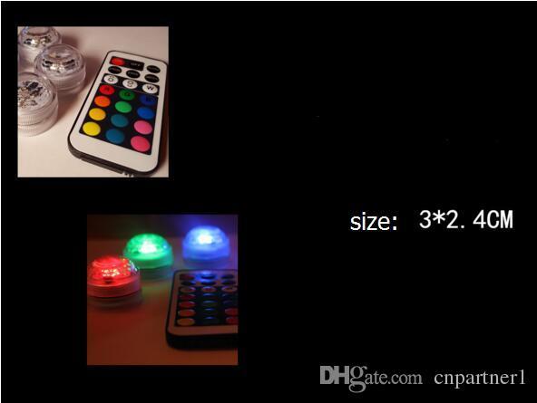 RVB Mini led lampe de diamant 3 led patch étanche IP68 bougie lumière télécommande coloré plongée lumière nuit lumière 7 contrôle de couleur