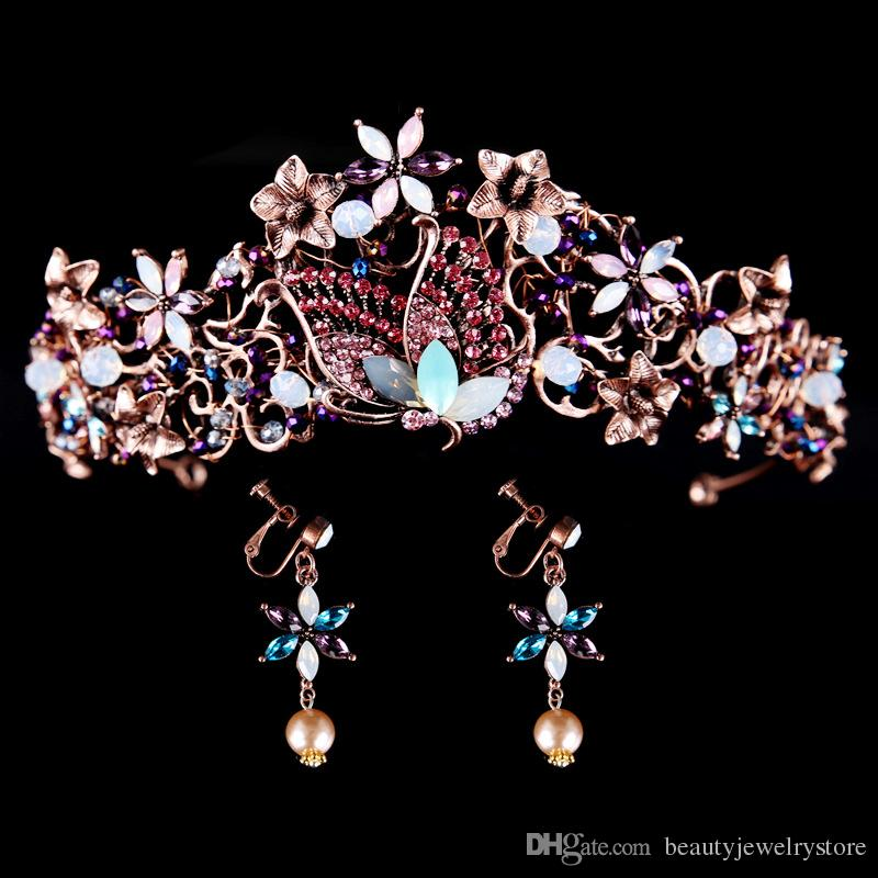 Western Country Bridal Hair Jewelry Tiaras And Crowns Beaded Flowers Vintage Wedding Sets With Earrings Ring Turquoise From