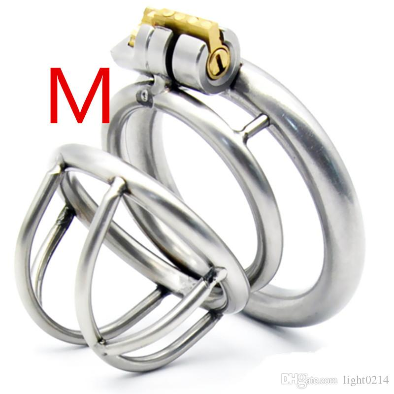 Cockring en forma de arco de acero inoxidable macho dispositivo de castidad Cock Cage juguetes sexuales para hombres Lock metal de pene pequeñas jaulas de castidad para hombre G7-1-175