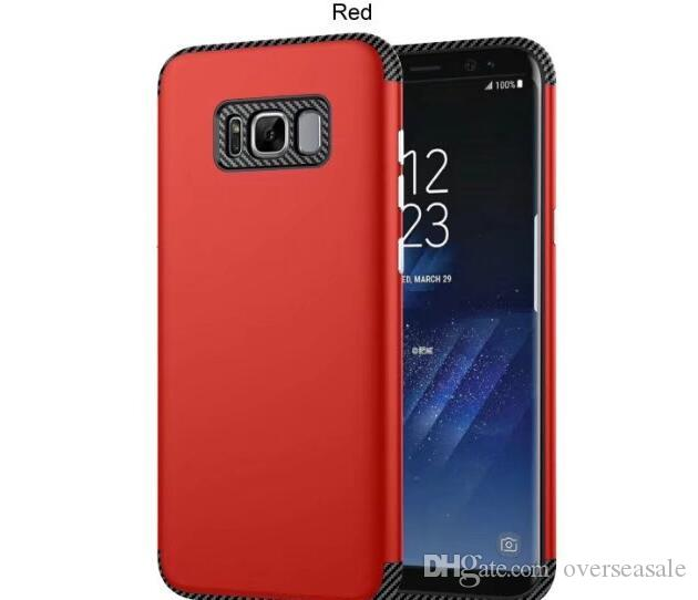 New Hybrid 2 in 1 Carbon fiber Silicone Rubber Hard Plastic cover case For Samsung Galaxy S8 Plus A3 A5 A7 2017 J3 J5 J7 Prime