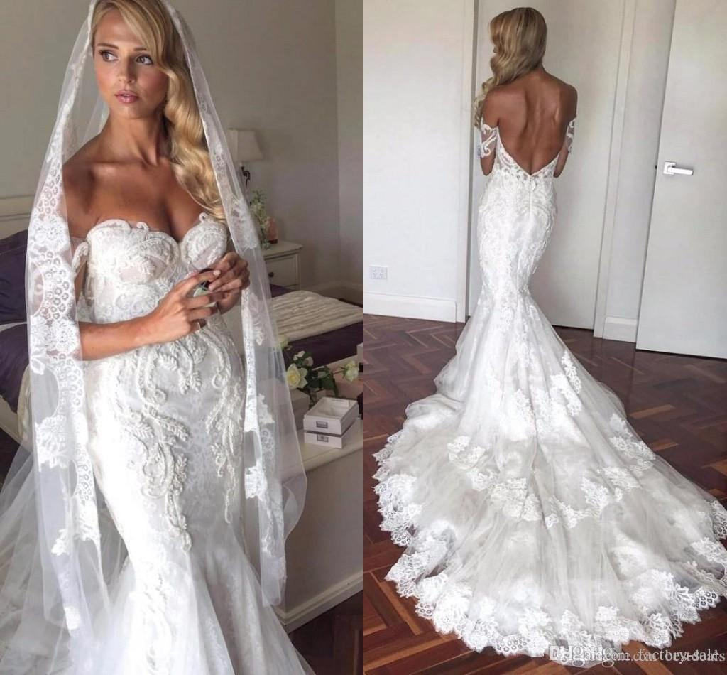 Sexy Best Selling Mermaid Wedding Dresses Lace Sweetheart Backless Court Train Handmade Flowers Wedding Gowns Bridal Dress Custom Made