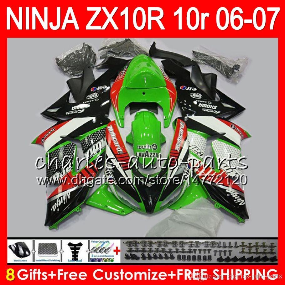 8Regalos del cuerpo para KAWASAKI NINJA ZX 10 R ZX10R 06 07 04 05 39HM8 ZX 10R ZX1000 C ZX1000C 06 ZX-10R 2006 2007 Verde negro Carenado