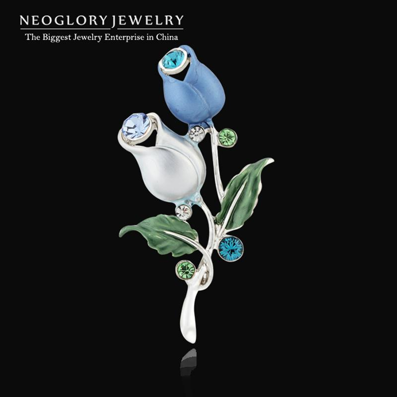 Neoglory Blue Flower Enamel Vintage Rhinestone Pins and Brooches for Women Wedding Dress Fashion Brand Jewelry Mother Gift 2018