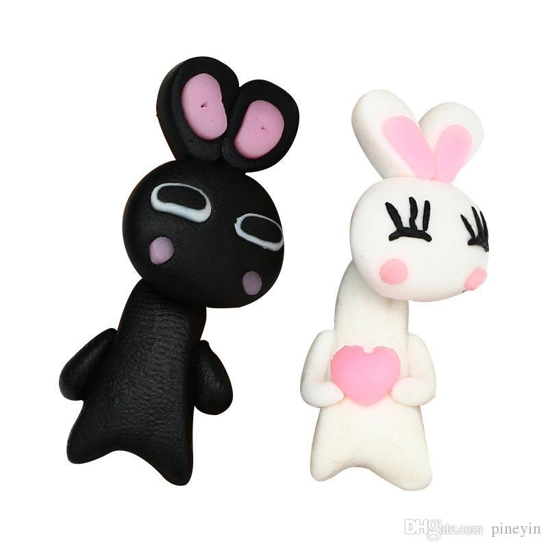 3D À La Main Polymère Clay Belle Blanc Noir Lapin Boucle D'oreille Pour Les Femmes Fille Animal Boucles D'oreilles Bijoux ER762