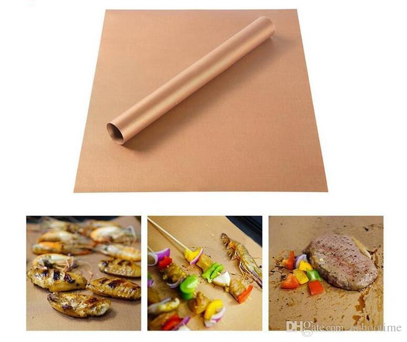 Echootime Barbecue Grilling Liner BBQ Copper Grill Mat Portable Non-stick and Reusable 33*40CM 0.2MM Grill and Bake Mat Camping BBQ Pads