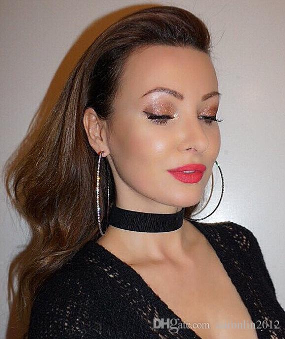 Frauen Marke Kristall Kreis Hoop Ohrringe Mode Punk Schmuck Strass Ohrring Anhänger Gold Ohrring Club Hiphop Bijoux 2017