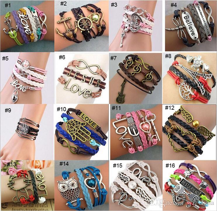 PU Leather Bracelet New Muti Layer Rope Hand Jewelry Friendship Love Infinity Anchor Cross Animal ID Bracelets Men Women Jewelry