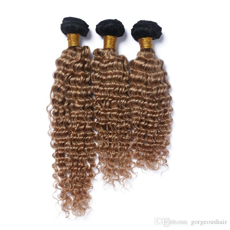 1B/27 Dark Root Ombre Peruvian Human Hair Extensions 3Pcs Lot 10-30 Two Tone Honey Blonde Ombre Kinky Curly Virgin Hair Bundles
