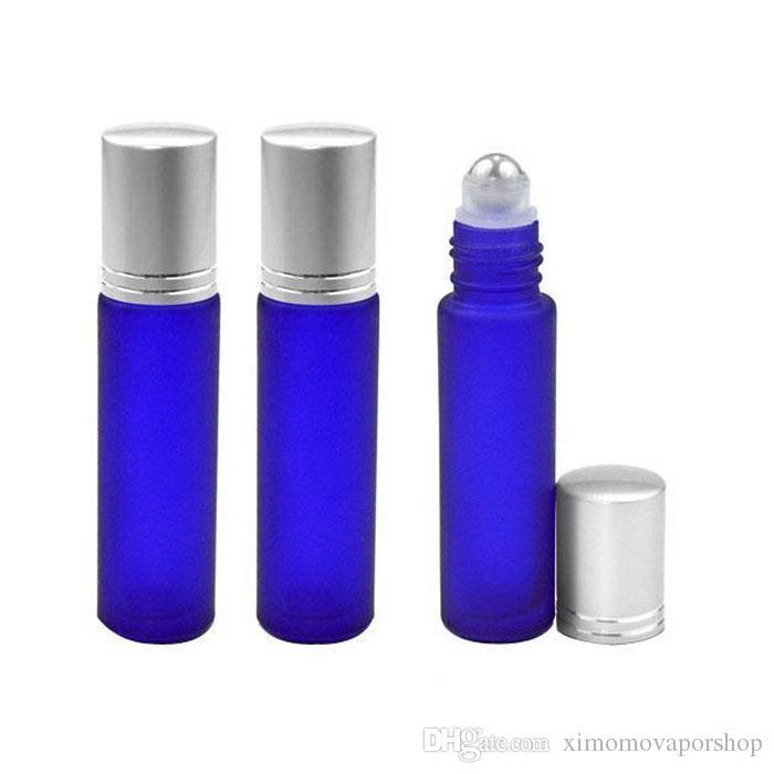 10ML 1 / 3oz زجاجات العطور السميكة ذات اللون الأزرق الكثيف المحمولة على زجاجات العطور المحمولة 10ML MINI مع الأغطية الفضية SS السوداء