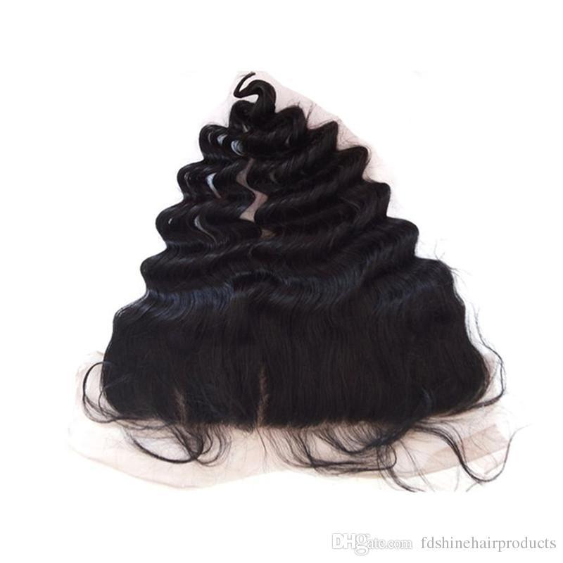 Lose Welle 13x4 Spitze Frontal mit gebleichten Knoten Günstige Virgin Ohr zu Ohr Brasilianisches Haar Frontal FDSHINE HAIR