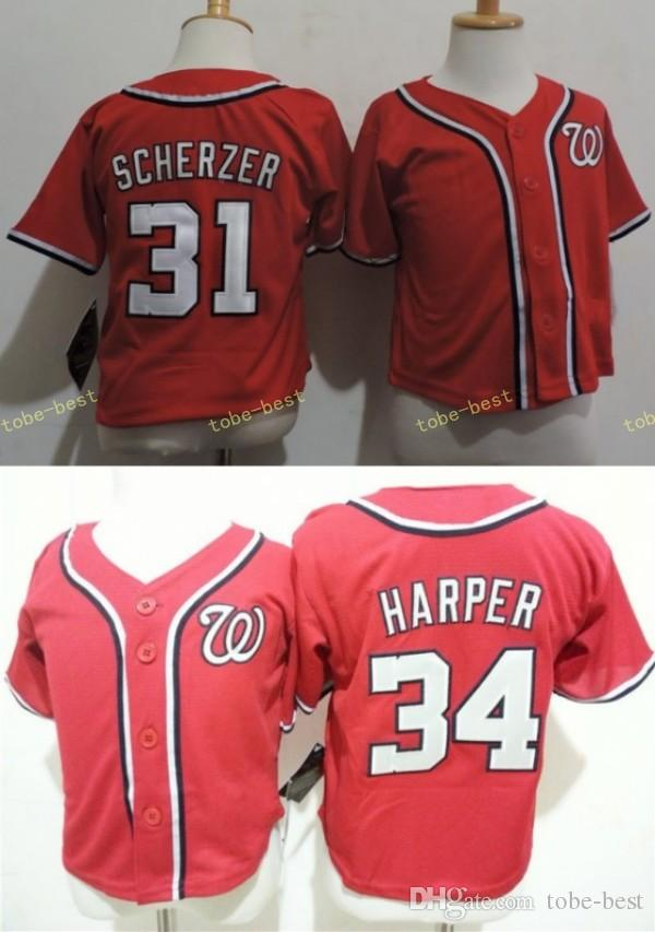 861f1c2b4 ... best price 2017 toddlers infant kids washington nationals 31 max  scherzer 34 bryce harper red baseball