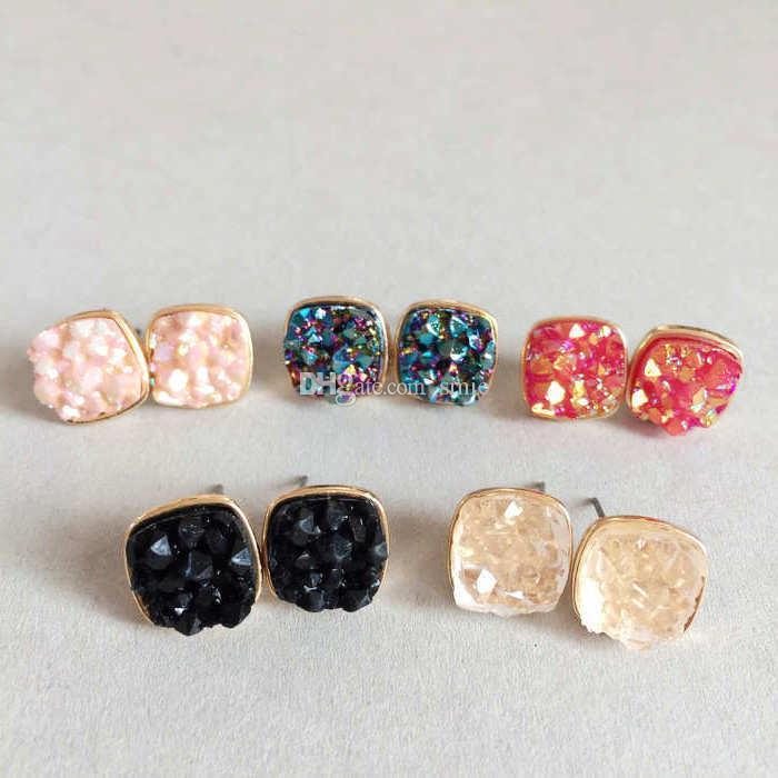 Мода Drusy Druzy Earrings Gold Plated Популярные квадратные натуральные камни из натурального камня для женщин Lady Jewelry