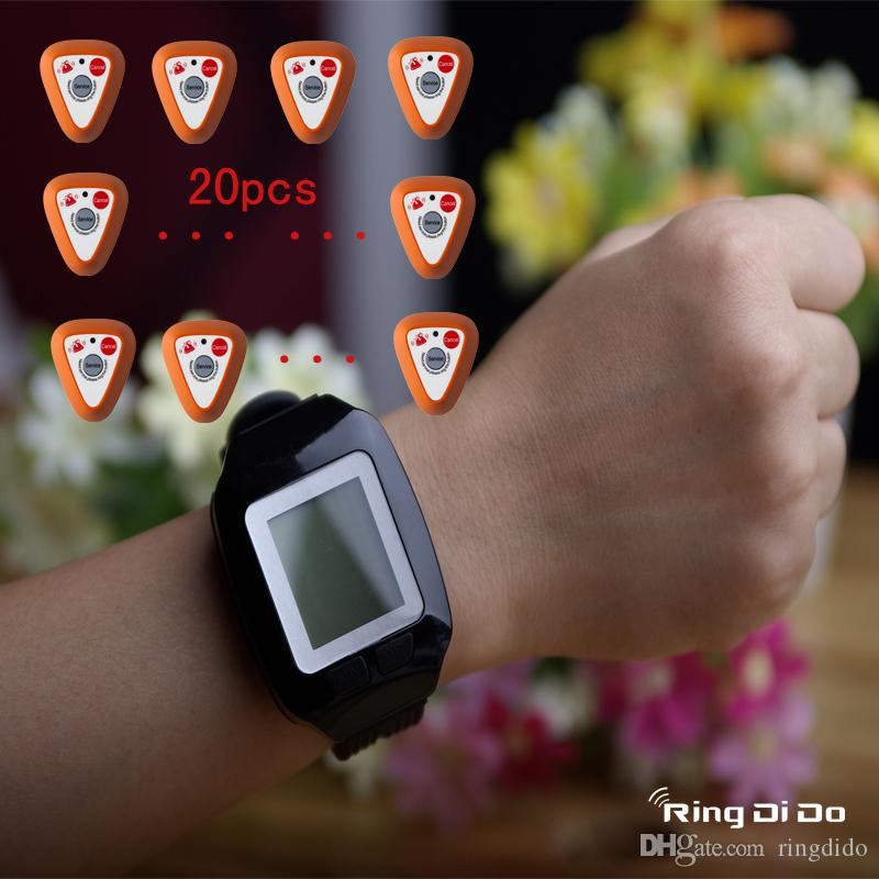 1 watch+20 buttons Wireless pager with cancel key,wrist watch be able vibrate and didi voice to note waiter once bell button be pressed
